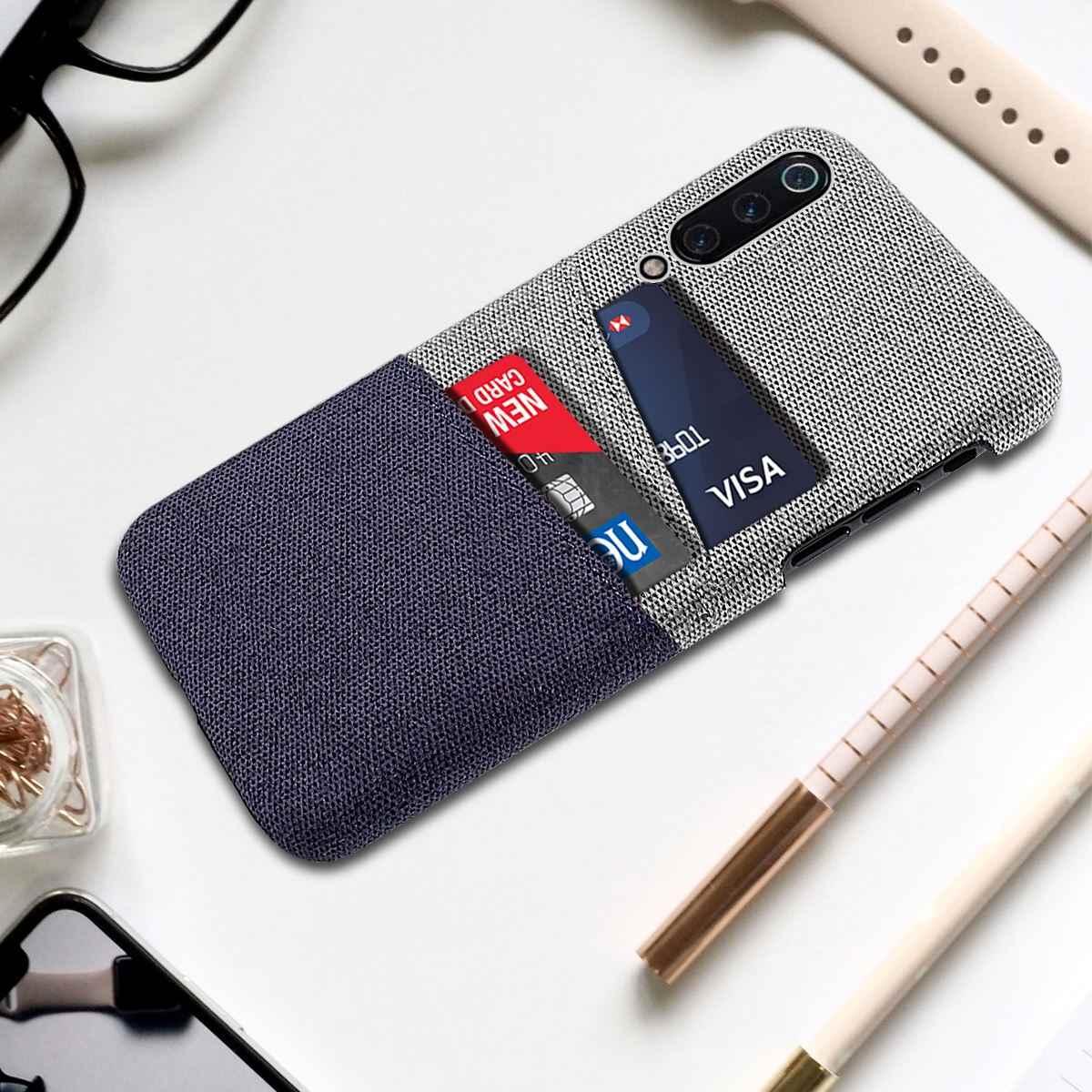 Für Xiao mi mi 9 Telefon Fall Stoff Tuch Gewebt Karten Halter Dünne Anti-Scratch PC Abdeckung Für xiao mi mi 9 mi 9 SE Rot mi 7 GEHEN