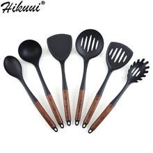 Juego de utensilios de cocina de nailon, cuchara antiadherente con textura de madera, conjunto de utensilios para cocina con mango de acero inoxidable