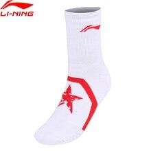 Распродажа) Li-Ning мужские носки для бадминтона 60.9% хлопок 26.7% акрил 11.1% полиэстер 1.3% спандекс подкладка спортивные носки AWLN059 NWM431