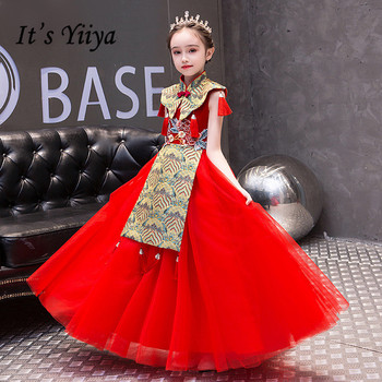 Red Flower Girls Dresses It's Yiiya B091 Vintage Embroidery Lace Pageant Dresses Long High Neck Tulle Shawl Flower Girl Dress lovely lace flower girl dresses hi low jewel neck pink long sleeve pageant dresses fluffy tiered satin girls pageant dress