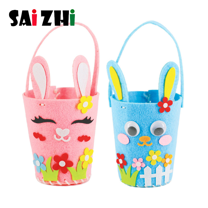 Saizhi Easter Bunny Rabbit Basket Non-woven Eggs Basket DIY Toys Kindergarten Children EVA Crafts Hand Making Toys Gifts