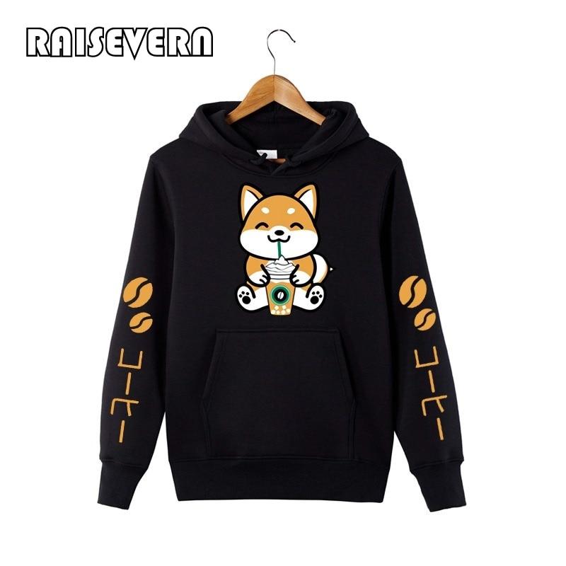 Coffee Frappe Shiba Inu Hoodie Sweatershirt Harajuku Kawaii Hoodie Black Sweatershirt Girls Autumn Korean Style Women Hoodies