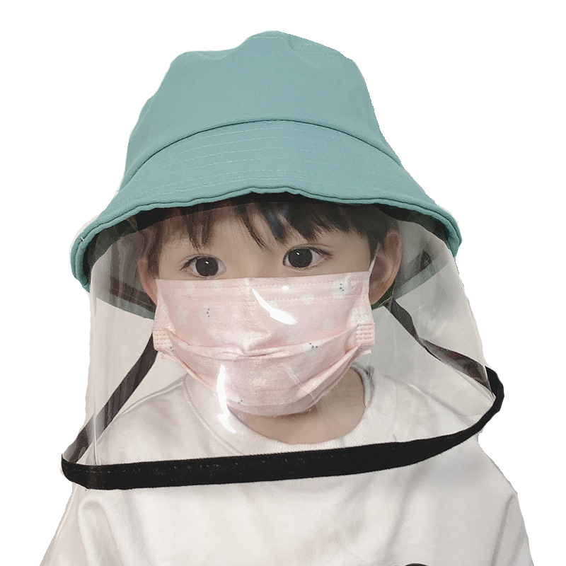 Protective Child Face Shield Hat Bucket Hat Anti-spitting Transparent Cover Children Outdoor Girls Boys Cotton Fisherman Hat
