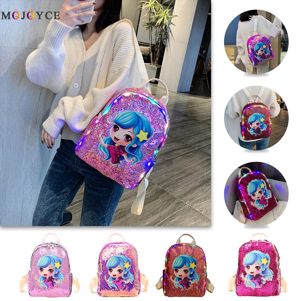 Cartoon Sequins Girls Backpack Casual School Shoulder Bags With LED Lights