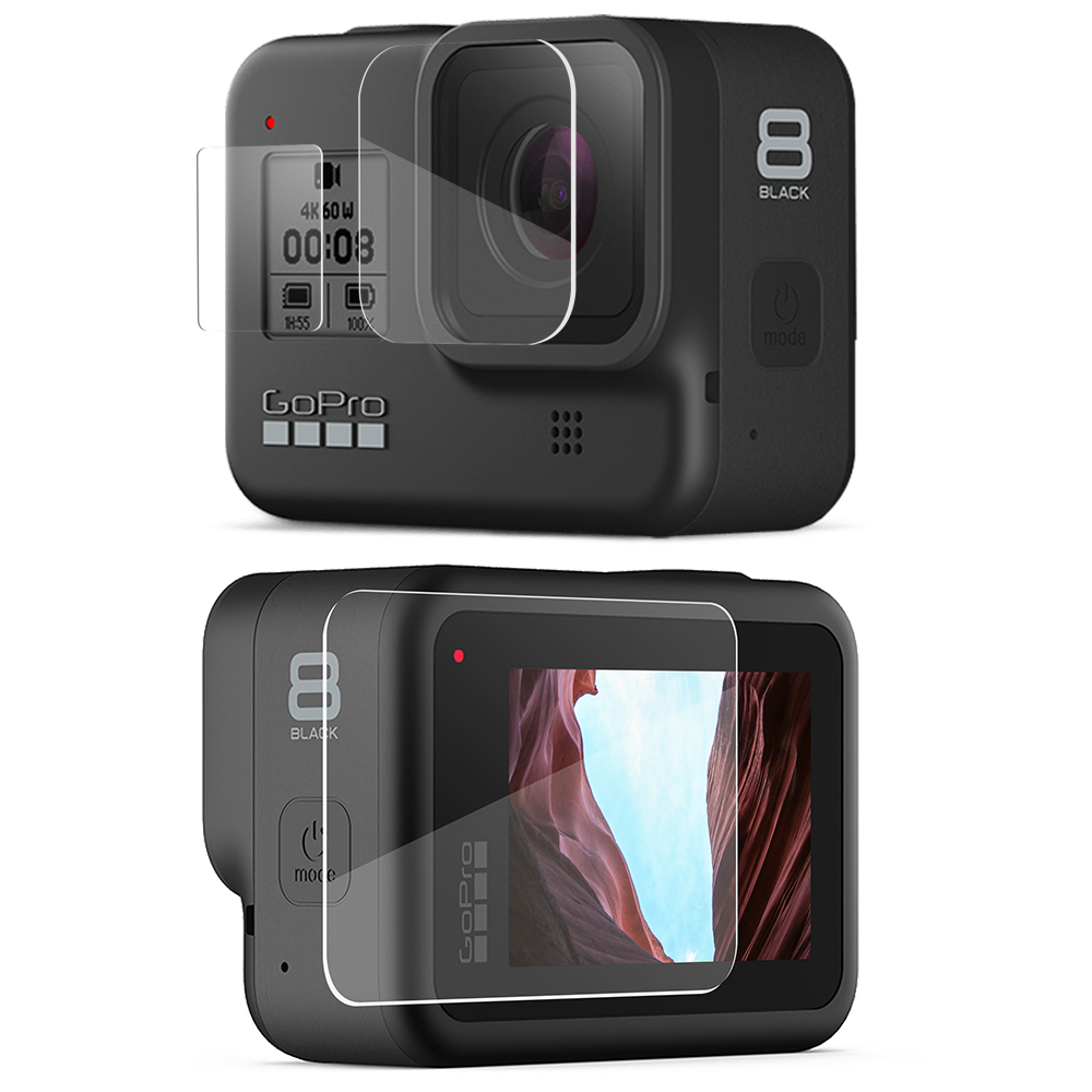 Vamson For Gopro Hero 8 Black Tempered Glass 9 Pcs Protector Cover Case LCD Screen Protective Film For Gopro Hero 8 VP720 -F