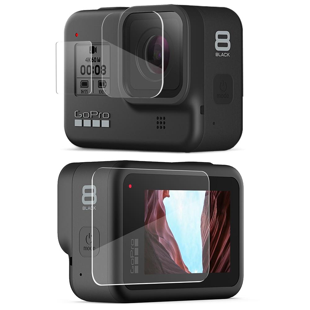 Vamson For Gopro Hero 8 Black Tempered Glass 9 Pcs Protector Cover Case LCD Screen Protective Film For Gopro Hero 8 VP720 -F