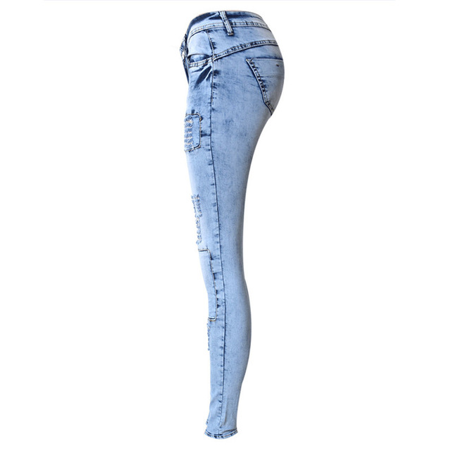 Skinny Jeans with ripped patchwork pattern