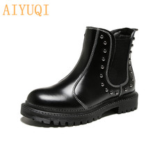 AIYUQI Female Chelsea Boots Casual 2019 Autumn New Sexy Women Ankle Rivet Genuine Leather Martin For
