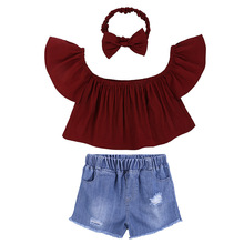 Baby Girl Red Flying Sleeve Tops  Denim Shorts  Headband 3PCS Outfits Clothes Casual Toddler Kids Baby Girls Clothes Set 0-24M цена 2017
