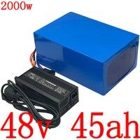 48V 45AH 2000W ไฟฟ้าแบตเตอรี่ 48V 45AH แบตเตอรี่ลิเธียมไอออน 48V 45AH สกู๊ตเตอร์แบตเตอรี่ 54.6 5A charger