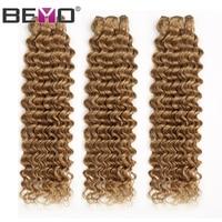 Beyo Hair Color #27 Deep Wave Brazilian Hair Weave Bundles Honey Blonde Human Hair Extension 3 Or 4 Bundle Deals Non Remy Hair