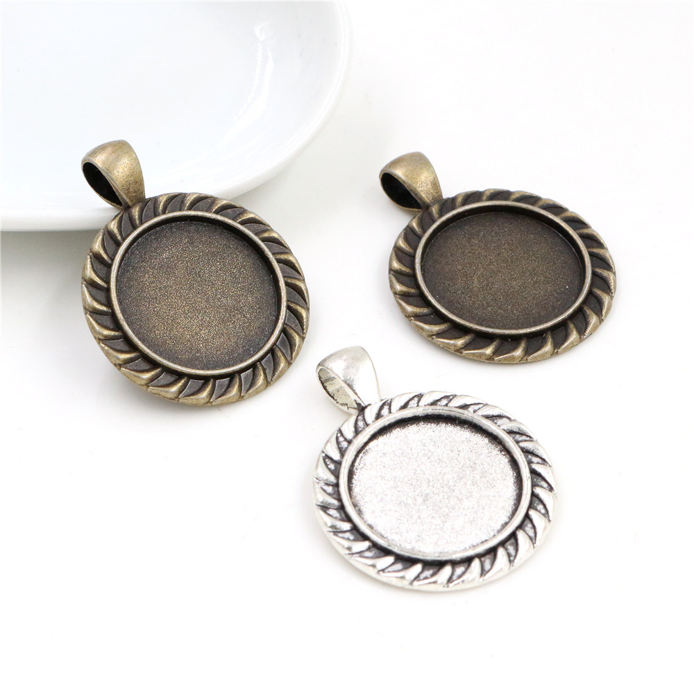5pcs 20mm Inner Size Antique Silver Plated And Bronze Classic Style Cabochon Base Setting Charms Pendant
