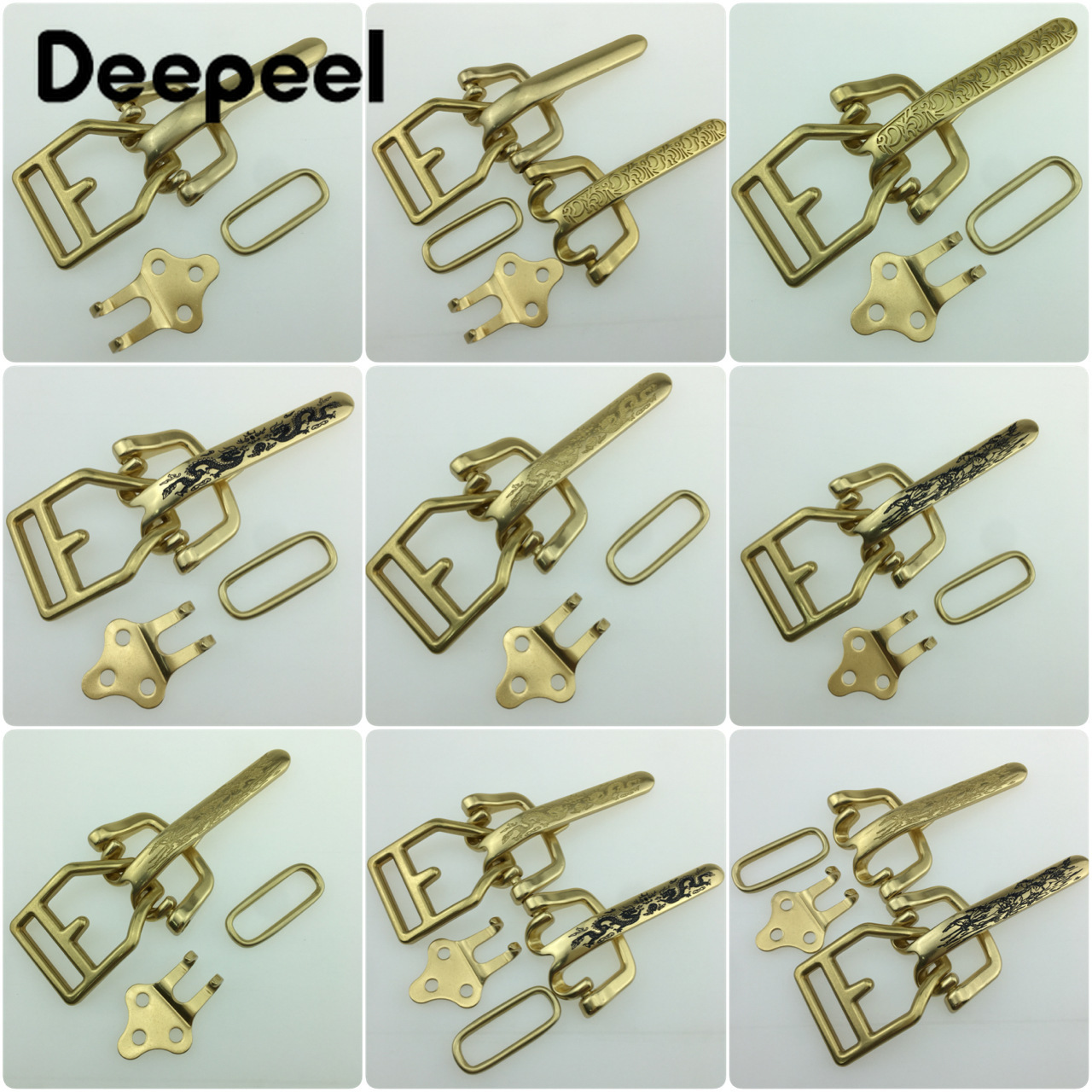 Deepeel 1Set=4pcs 40mm Solid Brass Belt Buckles For Men DIY Waistband Jeans Leather Craft For 38mm Belt Accessories YK168