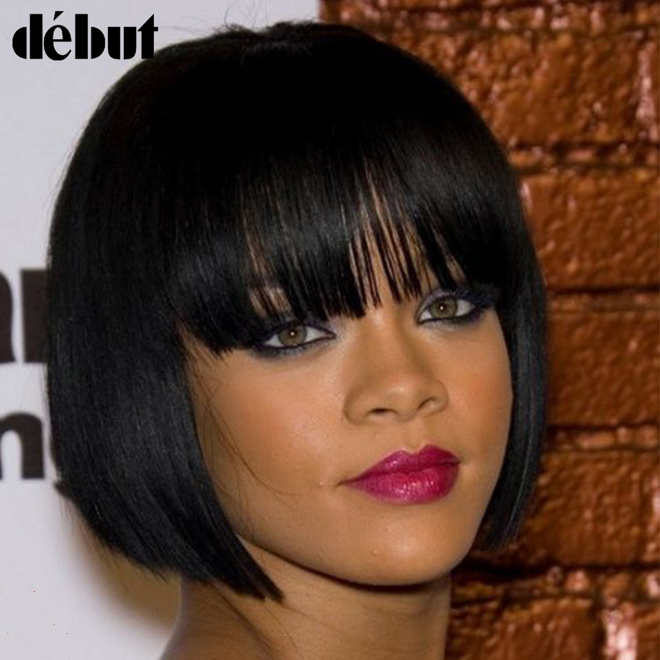 Debut Colorfull Pixie Cut Wig For Women Short Human Hair Wigs Remy Straight Hair Wigs Bangs 8-10 Inches Bob Wigs Black Friday