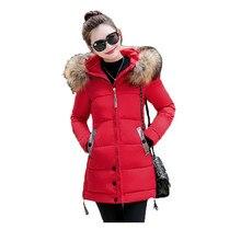 Winter parka women M-4XL plus size khaki red black jacket 2019 new korean long sleeve standing collar slim warmth clothing JD521 цена