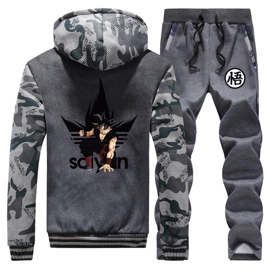 Dragon Ball DragonBall Z Anime Sweatshirt Thick Hoodies Men Winter Warm Suit Coat Japanese Camouflage Jacket+Pants 2 Piece Sets