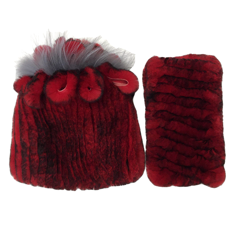 2019 Knitted Real Rabbit Fur Hats Scarves Set Winter Genuine Natural Fur Cap With Flower Stripes Beanies Scarf Warm Beanies Snow