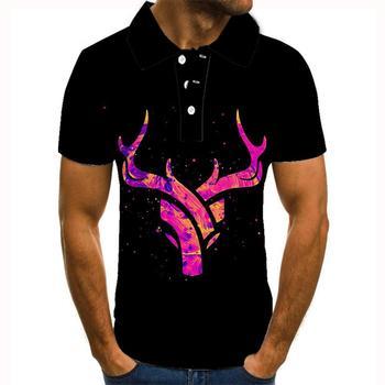 2020 nowa marka modowa mężczyźni Polo deer 3D drukowane Camisa Polo Masculino koszula męska koszulki Polo koszule polo na koszula męska tanie i dobre opinie krótkie REGULAR Na co dzień guzik Drukuj POLIESTER Szybkoschnące Gradient