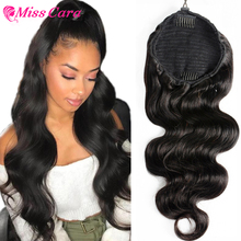 Ponytail-Extension Wrap-Around Drawstring Natural-Color with Clip-Velcro Strap Body-Wave