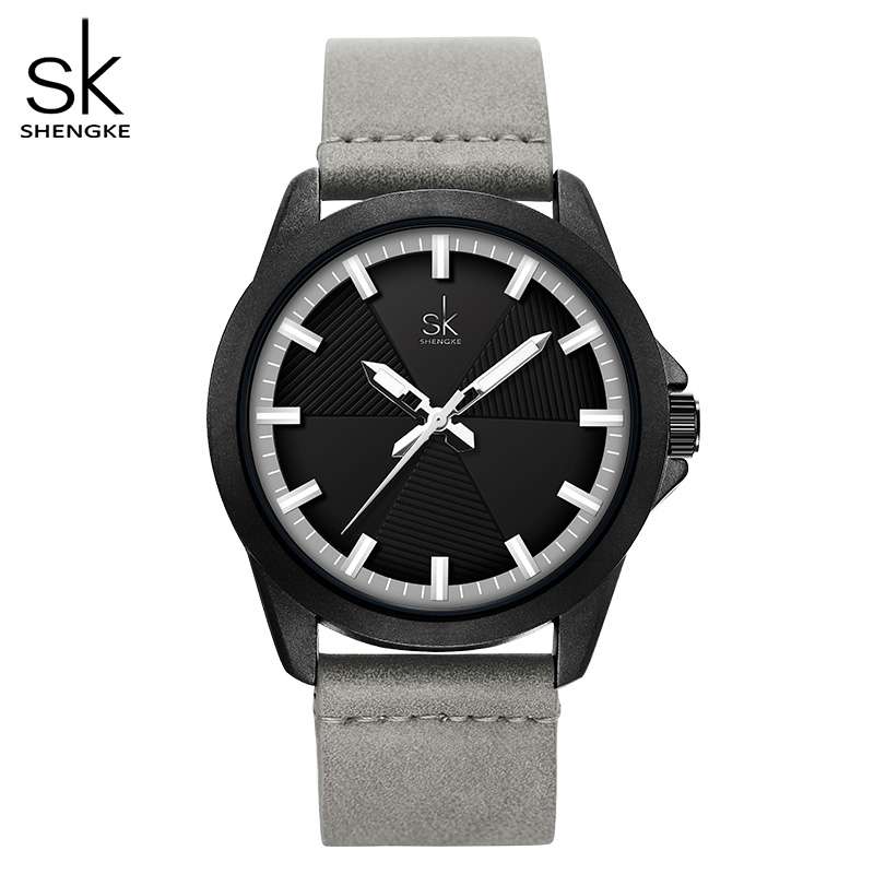 Shengke Women Fashion Grey Quartz Watch Lady Leather Watchband High Quality Casual Waterproof Wristwatch Gift For Wife New