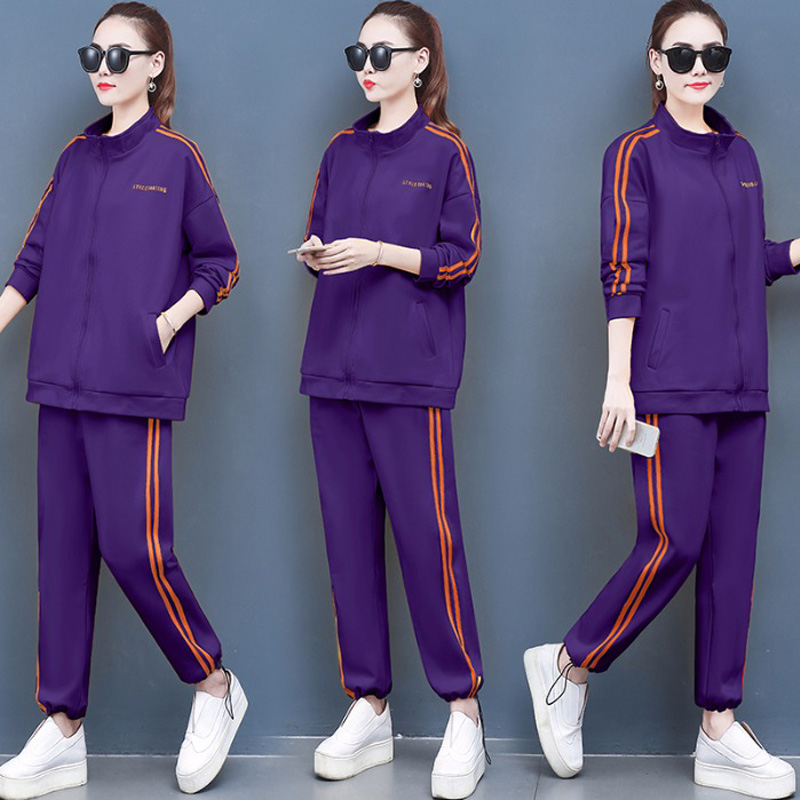 2019 Autumn Stripe Tracksuit Long Sleeve Hoodies Outfits Two Piece Set Zipper Jacket Sweatshirts Pants Big size Clothing Sets in Women 39 s Sets from Women 39 s Clothing