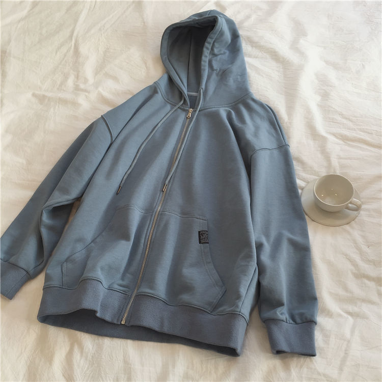 Harajuku with hat hoodies women zipper kangaroo pocket casual loose solid color sweatshirt female 2020 fashion new female tops 8