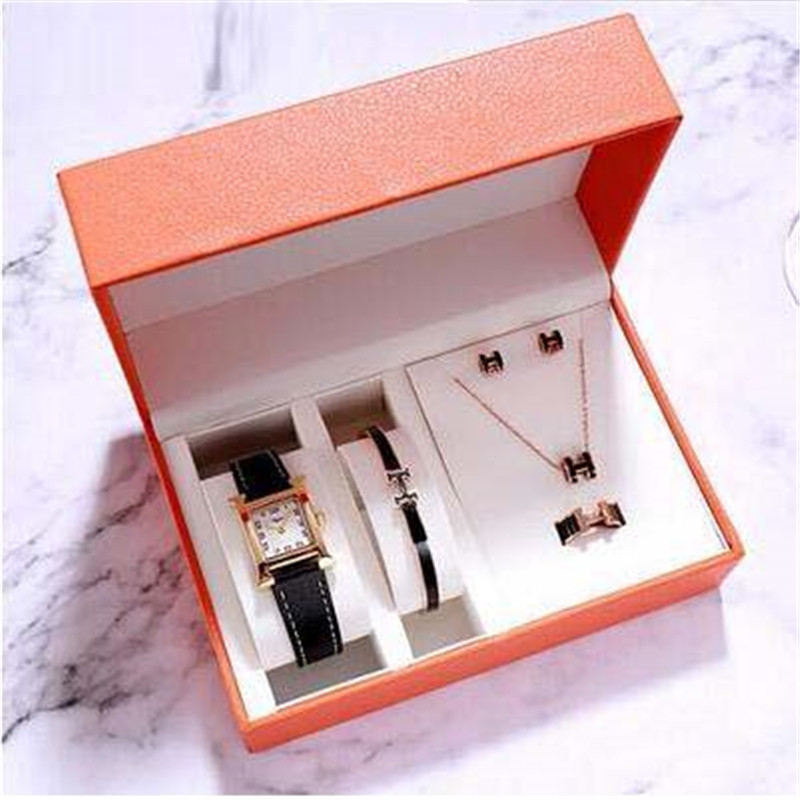 New Black Leather Band White Dial Watch Five Piece Suit With H Style, Ring Necklace Watch Gift For Women
