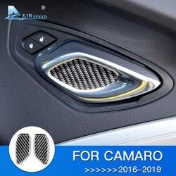 Prędkość dla Chevrolet Camaro 2016 2017 2018 2019 akcesoria dla Camaro naklejki z włókna węglowego wykończenie wnętrza wgłębienie klamki drzwi samochodu pokrywa w Naklejki samochodowe od Samochody i motocykle na