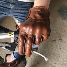 Pantalla táctil de guante de protección de cuero perforado para motocicleta urbana NeoRetro Vintage para hombre