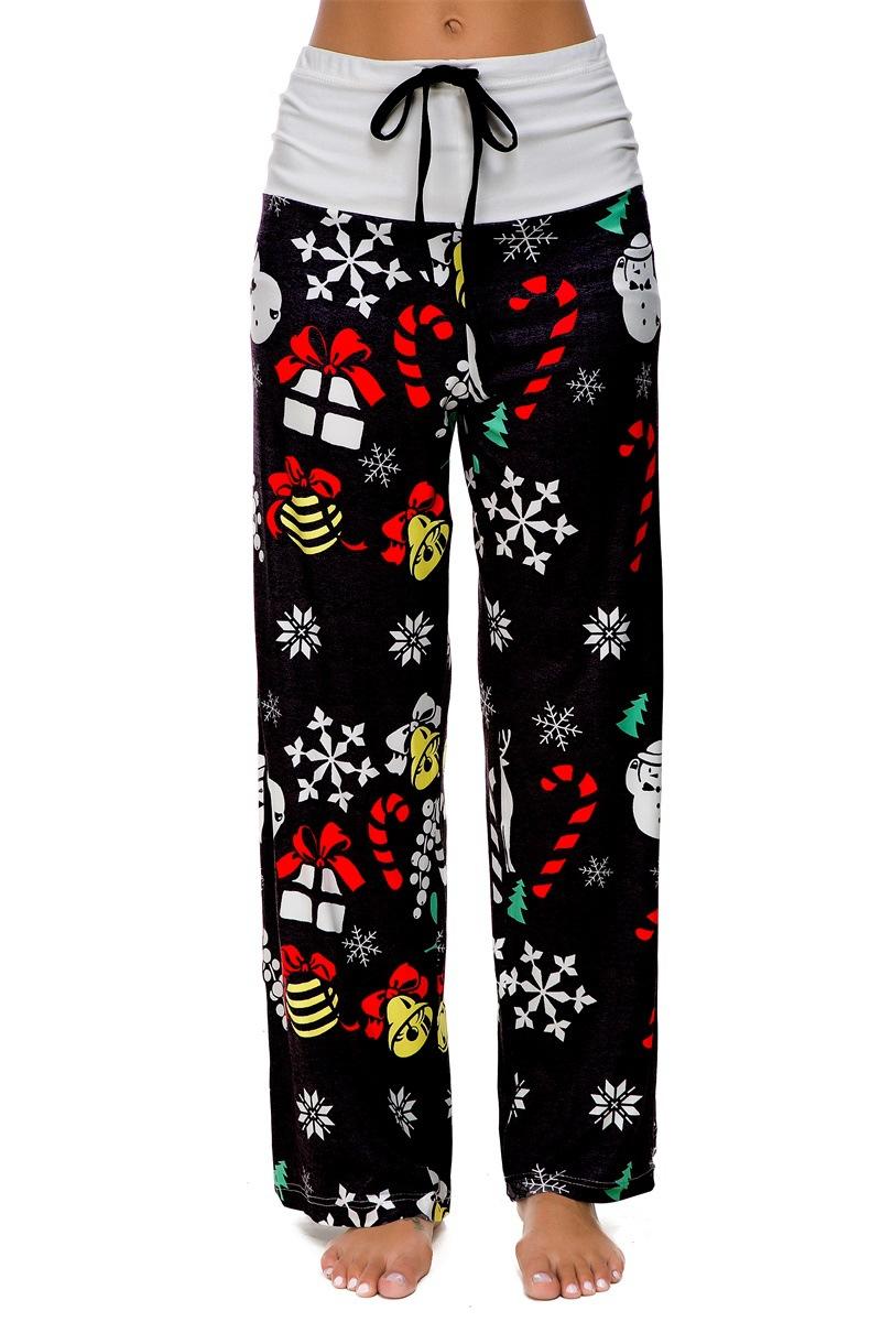 Pantalones Estampados Casuales De Mujer Pantalones Anchos Sueltos Pantalones Hasta El Tobillo Pantalones De Mujer Cintura Elastica Talla Grande Navidad Pantalon Pantalones Y Pantalones Capri Aliexpress