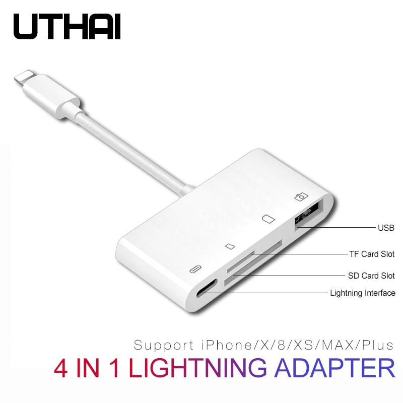 UTHAI B16 Multi adaptateur lecteur de carte Lightning à SD TF Micro USB HDMI 3.5 adaptateur Audio pour iPhone 7 8 X XR XS MAX PLUS charge