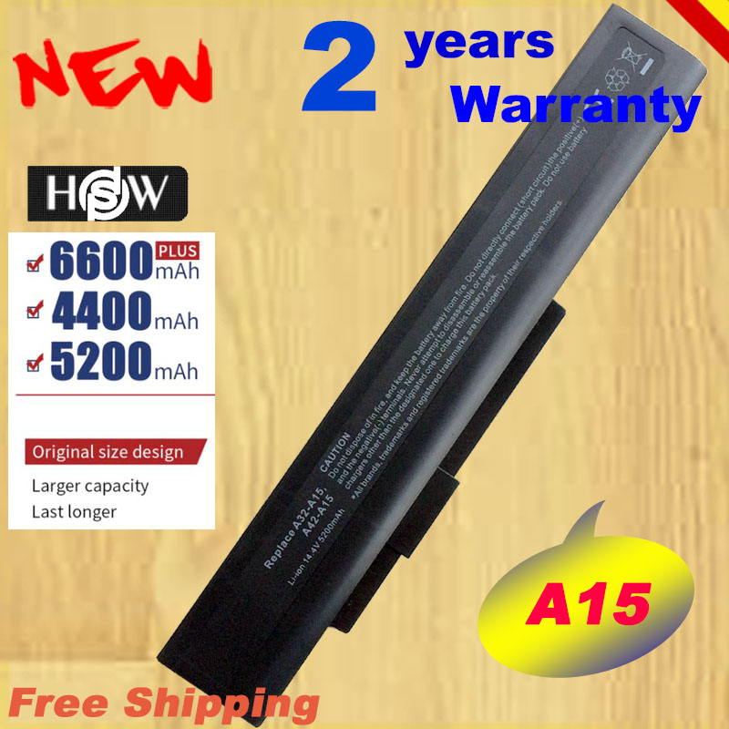 HSW 14.4V A32-A15 Battery For Asus <font><b>MSI</b></font> A6400 CR640DX CR640MX <font><b>CX640DX</b></font> CX640MX A41-A15 A42-A15 A42-H36 fast shipping image