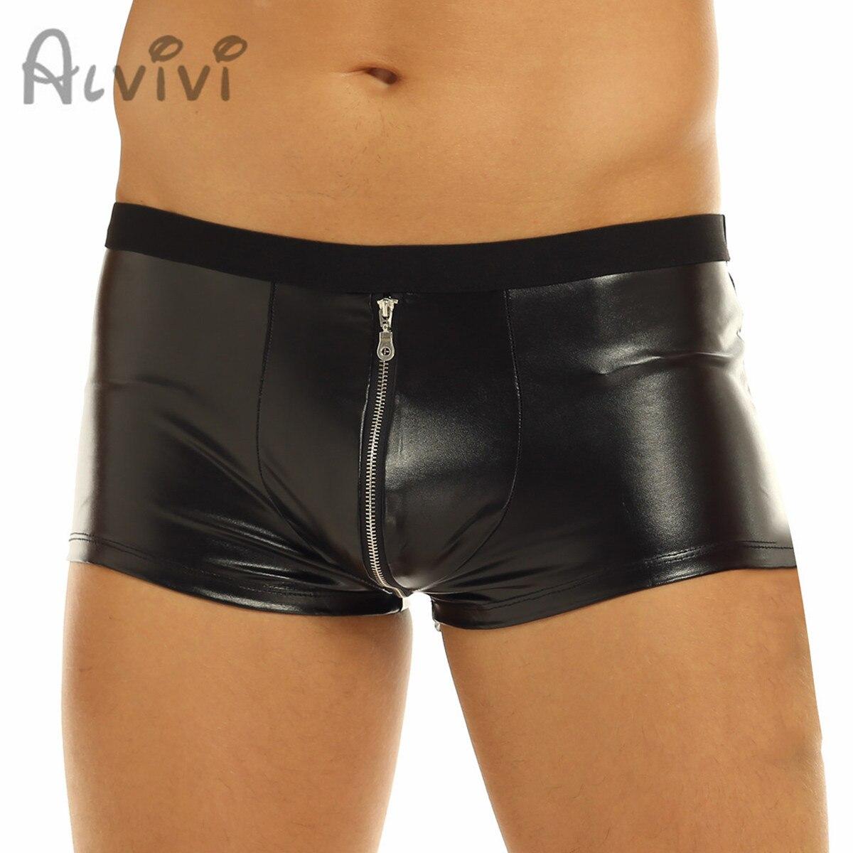 Трусы-боксеры alvivi мужские из латекса, Короткие трусы на молнии, Клубная одежда, гей-трусы