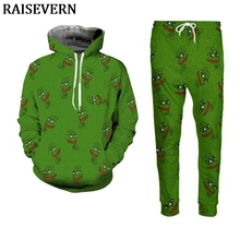 2019 Pullover Pepe Frog Hoodies Joggers Pant Two Piece Set Men's 3D Print Sweatshirt Autumn Winter Tracksuit Unisex Set недорого