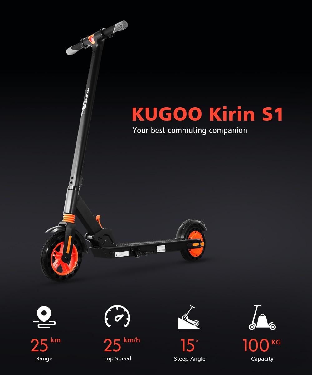KUGOO KIRIN S1 Folding Electric Adult Scooter 350W APP Control Electric Skateboard Honeycomb tire e Scooter (1)