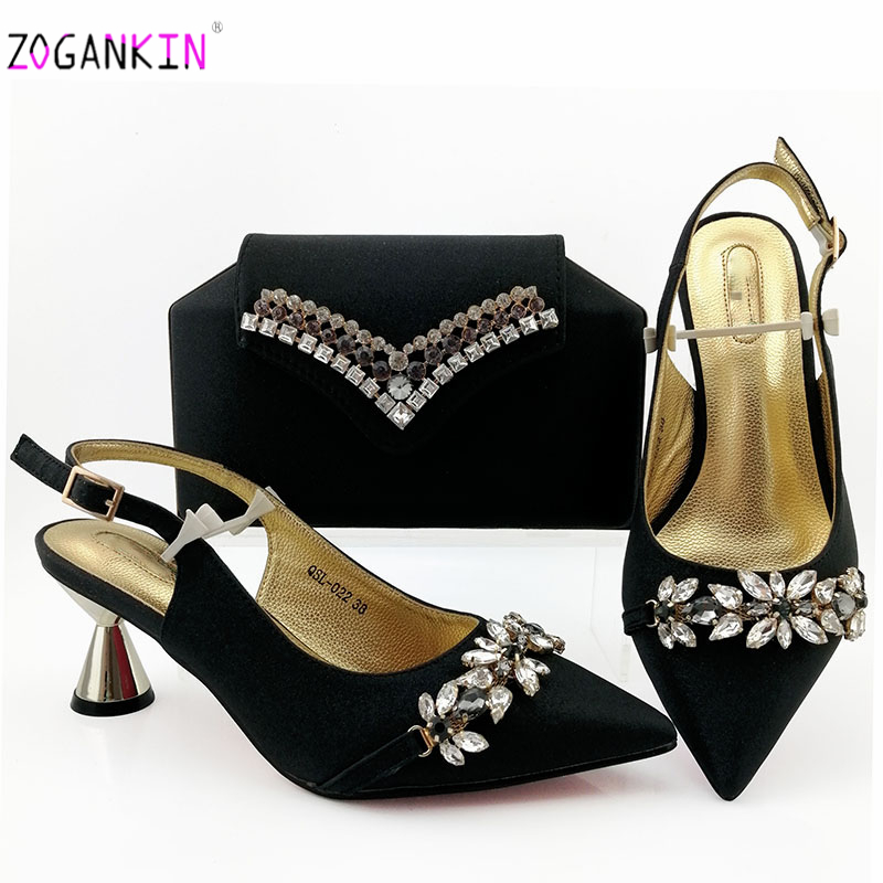 Black High Quality Italian Matching Lady Shoe and Bag Material with Pu Nigerian Shoes and Bags Set for Party Women Shoe and Bag