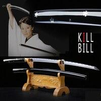 Japanese real katana swords 1045 carbon steel ninja sharp samurai kill bill O Ren Ishii's sword wooden sheath handle knife props