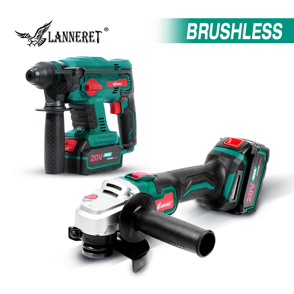 LANNERET Electric Brushless Angle Grinder Rotary Hammer
