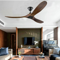 60 inch DC ceiling fan industrial vintage wooden ventilator with no light Remete control decorative blower wood retro fans