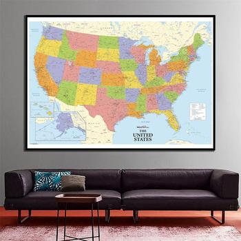 24x36 inches Physical American Map  National of The United States For Home Living Room Wall Decoration