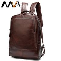 MVA 14 Laptop Men's Backpack Genuine Leather Man/Women Backpack School Bags For teens travel mochila hombre mochila masculina