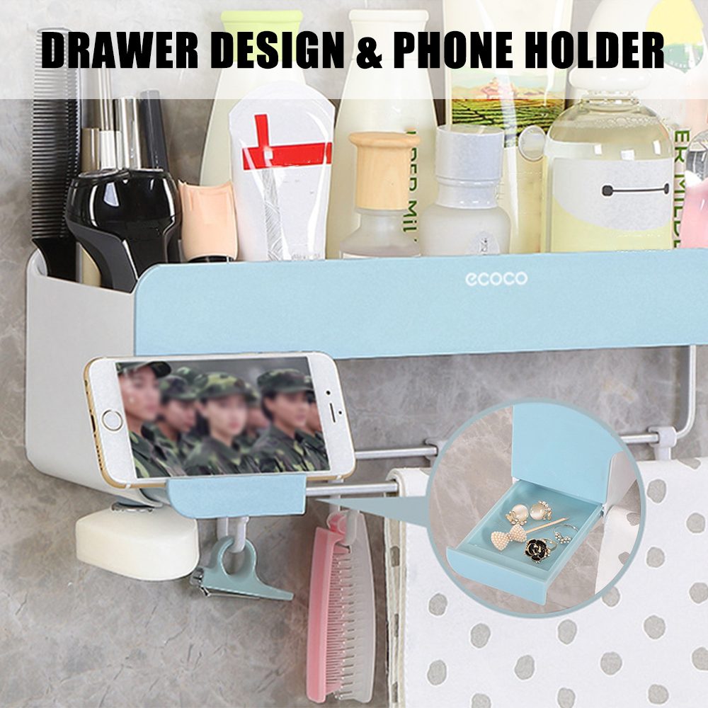 Toothbrush or Razor Holder Suction Cup Wall Mounted Blue Leaves Leaf Design Rack