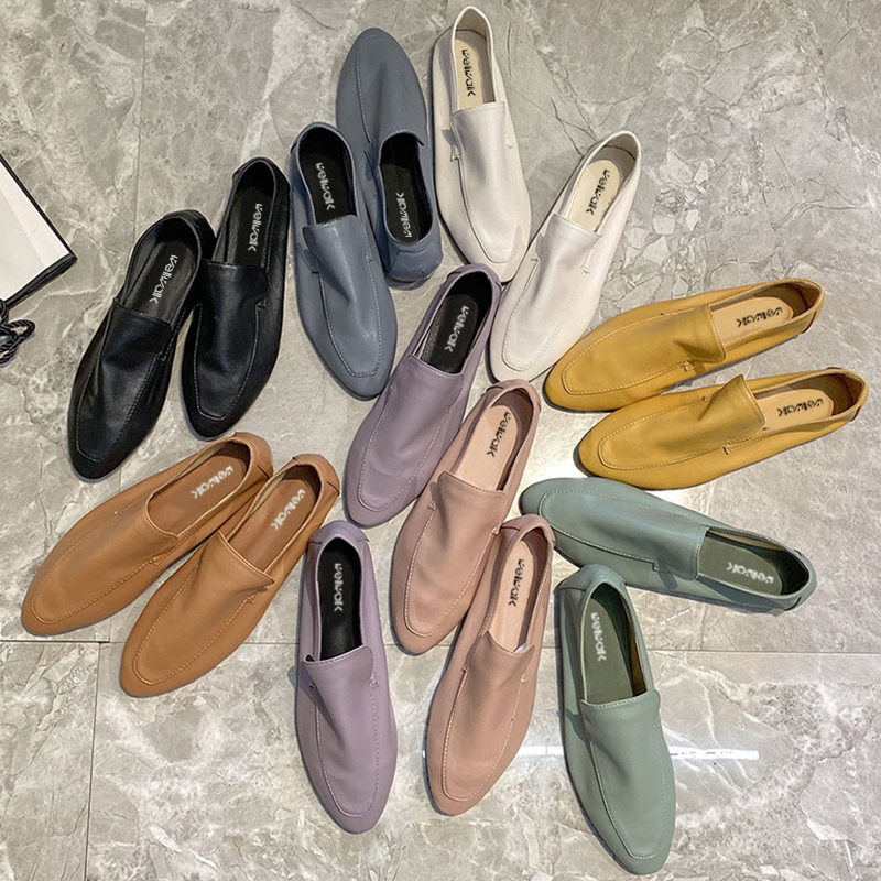 Concise Loafers Women Flat Shoes Soft Genuine Leather PU Moccasins Female Casual Ballet Flats Slip On Ballerina Woman Chic Style