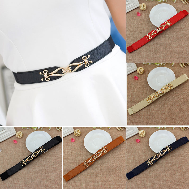 Fashion Stretch Women Belts Casual Solid Color Belt Pu Leather Elastic Dress Decorate Girdle Gold Buckle Cummerbund Waist Belt