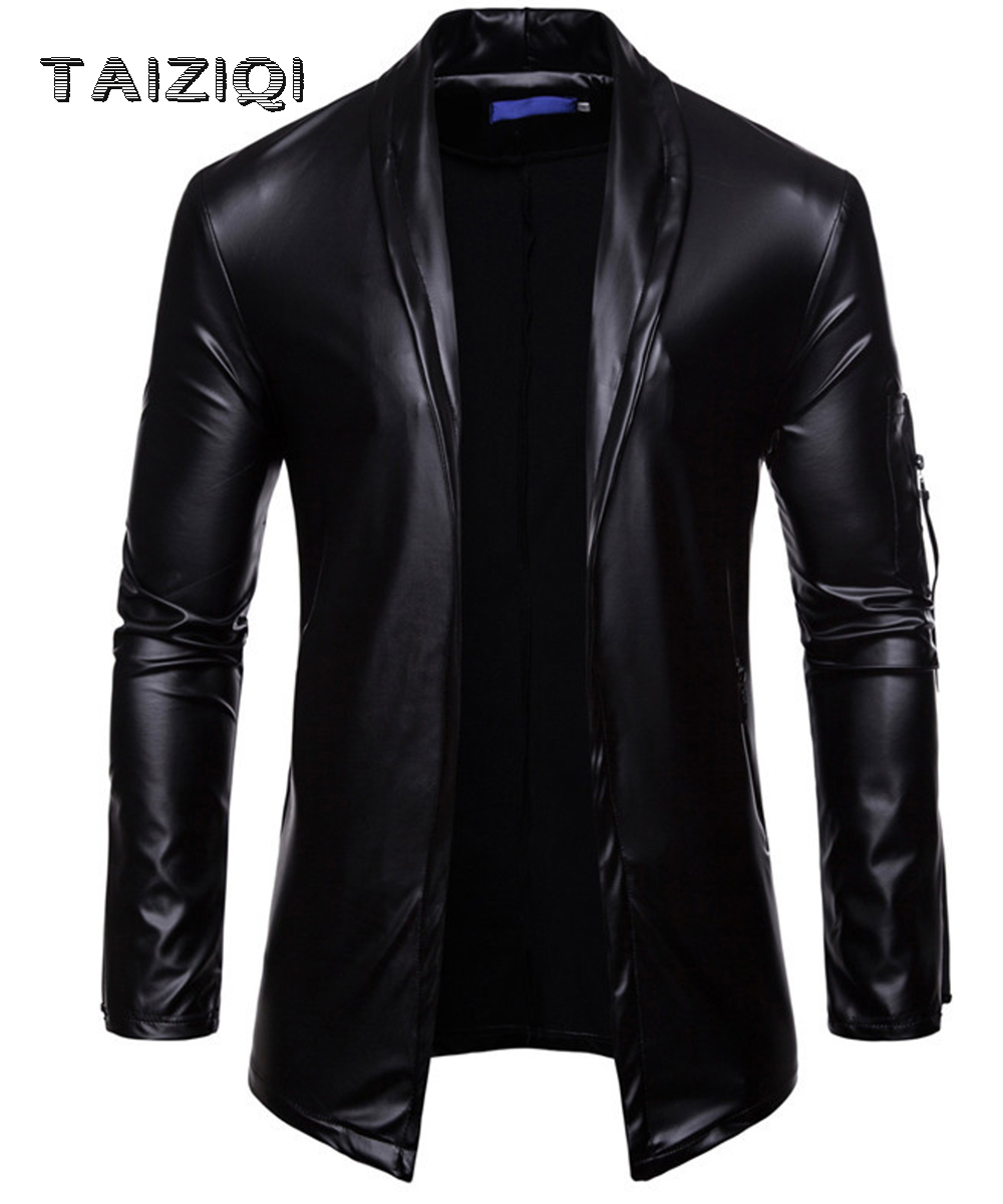 Leaher-Jackets Trench-Coat Man for Cutout-Figure Fashion And Beautiful Men's Elastic-Man