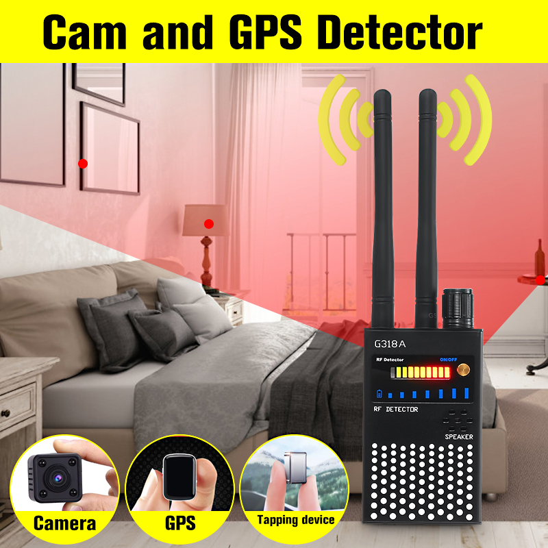 G318A Dual Antenna Black Multi-function GPS Detector GSM Audio Bug Finder RF-Tracker RF Detector Anti-eavesdropping Anti-Spy