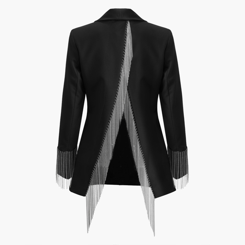 High Quality Office Ladies Jackets And Coats Shawl Collar Full Sleeve Buttons Tassel Chain Split Behind Black Blazer Outerwear