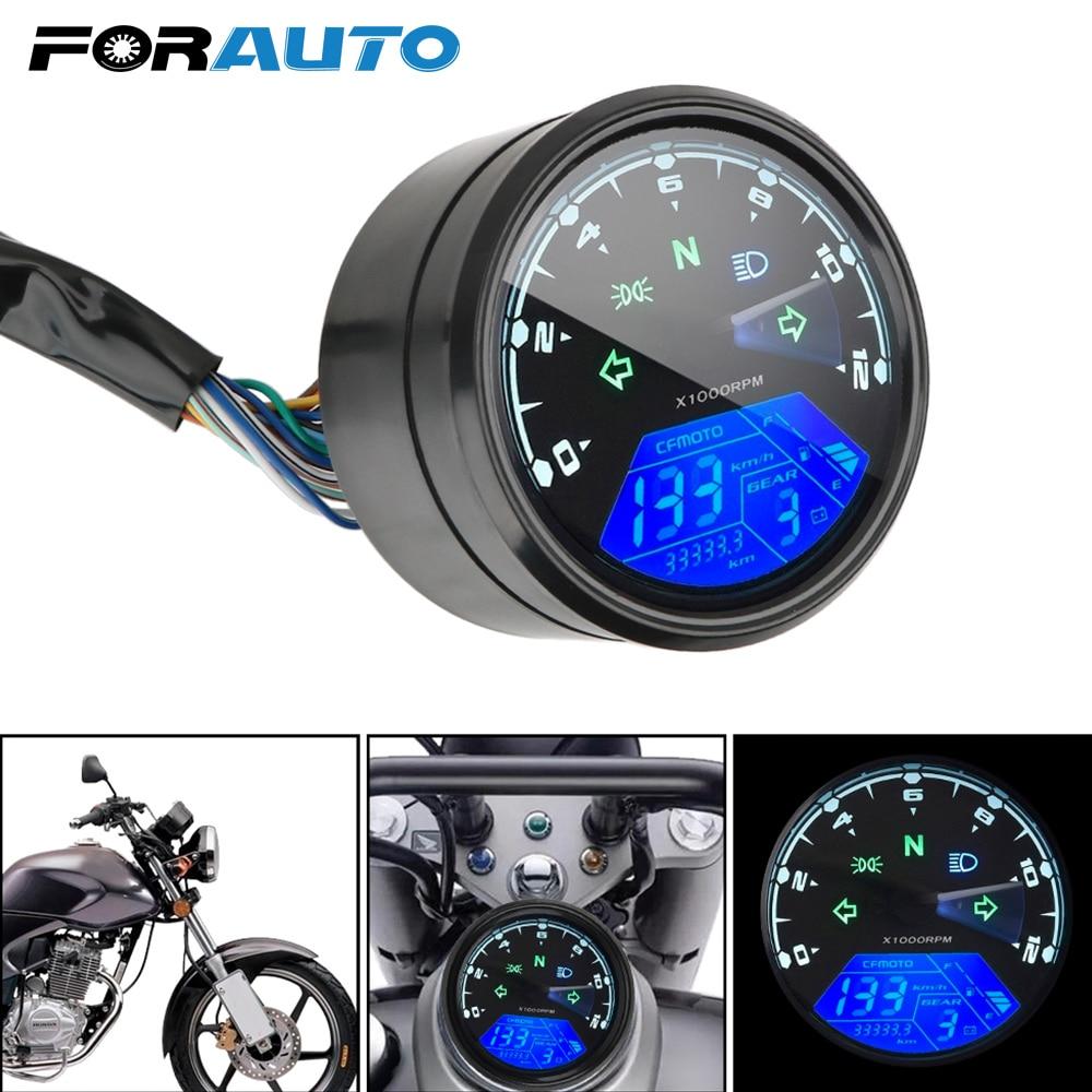 Anti-glare LED Multi-function Digital Indicator Tachometer Fuel Meter Motorcycle Panel Speedometer Night vision Dial Odometer