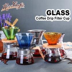 Filtr do kawy filiżanka filtrowa Barista przenośne szkło ręczny ekspres do kawy filtr miski V60 lejek kroplówki ekspres do kawy Espresso akcesoria do kawy