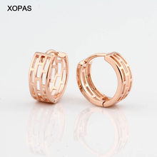 Small Round Hoop Earrings New Arrival Simple Fashion Design High Quality 585 Rose Gold Color Copper Earring Jewelry Party Gift(China)
